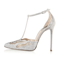 Women's Suede Stiletto Heel Closed Toe Pumps With Rhinestone