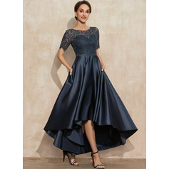 A-Line Scoop Neck Asymmetrical Satin Lace Cocktail Dress With Pockets (016251335)