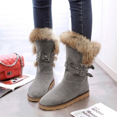 Women's Suede Flat Heel Boots Mid-Calf Boots Snow Boots With Rivet Buckle Fur shoes