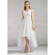 A-Line/Princess V-neck Asymmetrical Tulle Wedding Dress With Ruffle Beading Sequins (002081893)