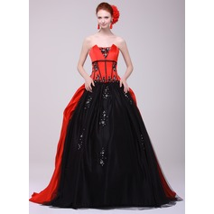 Ball-Gown Scalloped Neck Sweep Train Charmeuse Quinceanera Dress With Beading Appliques Lace
