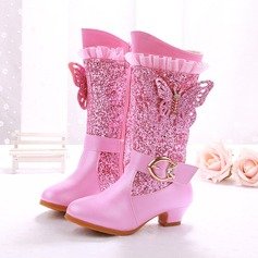 Girl's Closed Toe Leatherette Flat Heel Boots Pumps Flower Girl Shoes With Rhinestone Sparkling Glitter Zipper