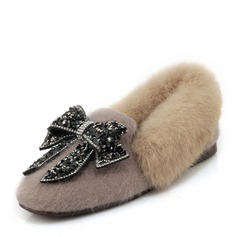 Women's Suede Flat Heel Flats Mary Jane With Rhinestone Bowknot Fur shoes