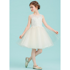 A-Line/Princess Knee-length Flower Girl Dress - Tulle/Lace Sleeveless Scoop Neck With Lace (010125859)