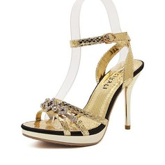 Women's Leatherette Stiletto Heel Sandals With Rhinestone shoes (087086204)