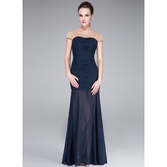 Trumpet/Mermaid Scalloped Neck Floor-Length Chiffon Evening Dress With Beading