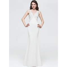 Trumpet/Mermaid V-neck Floor-Length Jersey Prom Dresses With Beading Sequins