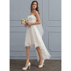 Sweetheart Asymmetrical Chiffon Wedding Dress (265213124)