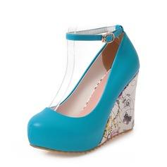 المرأة بو كعب ويدج مضخات منصة تو مغلقة أسافين مع مشبك أحذية