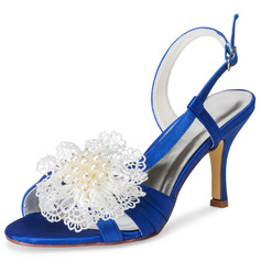 Women's Cloth Stiletto Heel Sandals With Applique