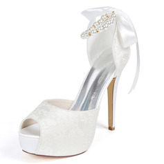 Women's Lace Satin Stiletto Heel Peep Toe Platform Pumps With Ribbon Tie Pearl