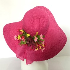 Ladies' Classic Rattan Straw With Bowknot Floppy Hat/Straw Hat