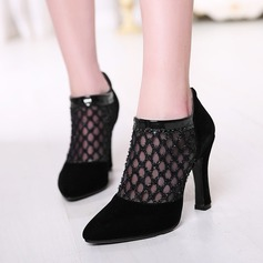Women's Leatherette Chunky Heel Ankle Boots With Stitching Lace Zipper shoes (085114535)