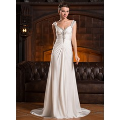 A-Line/Princess Sweetheart Sweep Train Jersey Evening Dress With Ruffle Beading Sequins