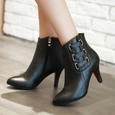 Women's PU Stiletto Heel Pumps Boots With Zipper Others shoes