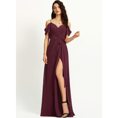 A-Line Off-the-Shoulder Floor-Length Bridesmaid Dress With Ruffle Split Front (007251613)