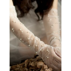 Tulle/Imitation Pearls Elbow Length Bridal Gloves (014203327)