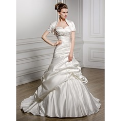 Trumpet/Mermaid Sweetheart Court Train Satin Wedding Dress With Ruffle Beading Flower(s) Sequins