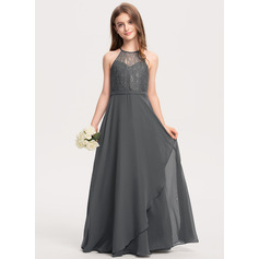 A-Line Scoop Neck Floor-Length Chiffon Lace Junior Bridesmaid Dress With Cascading Ruffles