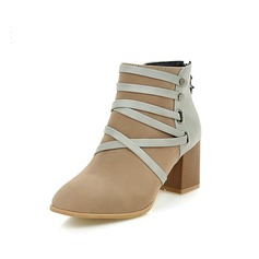 Women's Suede Chunky Heel Ankle Boots With Braided Strap Split Joint shoes