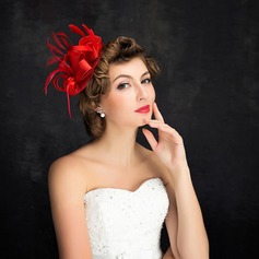 Ladies' Charming Feather/Linen With Feather Fascinators/Tea Party Hats