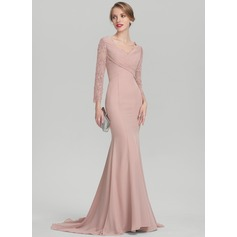 Trumpet/Mermaid V-neck Sweep Train Chiffon Lace Evening Dress With Ruffle