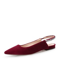 Women's Suede Flat Heel Flats Closed Toe With Imitation Pearl shoes (086138317)