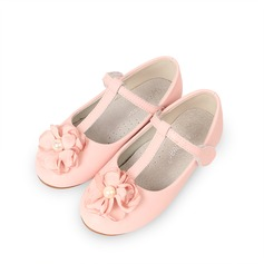 Girl's Real Leather Flat Heel Round Toe Closed Toe Flats With Imitation Pearl Velcro Flower