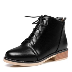 Women's PU Chunky Heel Flats Boots Ankle Boots With Lace-up shoes