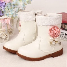 Girl's Microfiber Leather Flat Heel Round Toe Boots With Imitation Pearl Flower Zipper