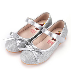 Girl's Closed Toe Microfiber Leather Flat Heel Flats Flower Girl Shoes With Bowknot Velcro