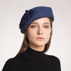 Beautiful Wool With Silk Flower Beret Hats