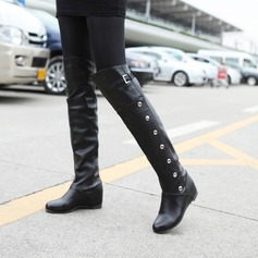 Women's PU Flat Heel Boots Knee High Boots With Zipper Others shoes