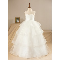 Ball Gown Floor-length Flower Girl Dress - Satin/Tulle Sleeveless Scoop Neck With Flower(s)/Pleated/Back Hole