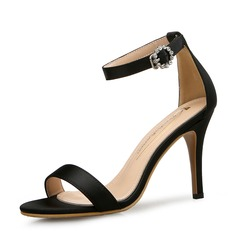 Frauen Satin Stöckel Absatz Sandalen Absatzschuhe Peep Toe mit Schnalle Schuhe
