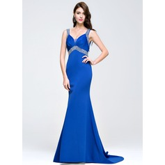 Trumpet/Mermaid Sweetheart Sweep Train Prom Dress With Ruffle Beading Sequins