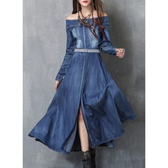 Denim With Embroidery/Crumple Maxi Dress (199136876)