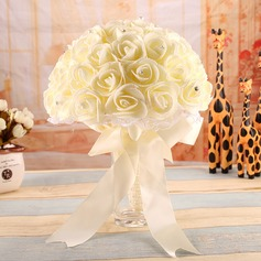 Romantic Round Satin Bridal Bouquets -