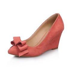 Suede Wedge Heel Closed Toe Wedges With Bowknot shoes (116062319)