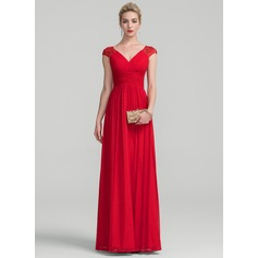 A-Line/Princess V-neck Floor-Length Jersey Evening Dress With Ruffle Lace