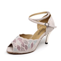 Women's Satin Leatherette Sandals Latin With Imitation Pearl Dance Shoes