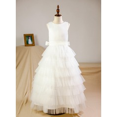 A-Line/Princess Floor-length Flower Girl Dress - Organza/Tulle Sleeveless Scoop Neck With Bow(s) (Petticoat NOT included)