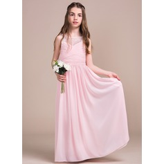 A-Line/Princess Scoop Neck Floor-Length Chiffon Lace Junior Bridesmaid Dress With Ruffle