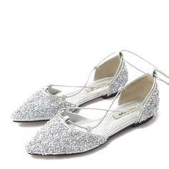Women's Sparkling Glitter Flat Heel Flats Closed Toe With Lace-up shoes (086163218)