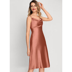 A-Line Cowl Neck Knee-Length Cocktail Dress With Split Front