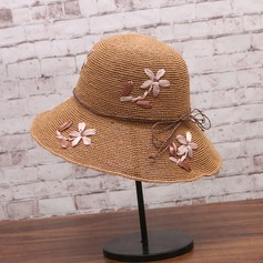 Ladies' Beautiful Papyrus With Flax/Flower Straw Hat