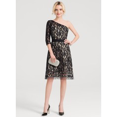 A-Line/Princess One-Shoulder Knee-Length Lace Cocktail Dress