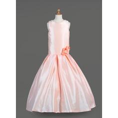 Forme Princesse Longueur ras du sol Robes à Fleurs pour Filles - Taffeta Sans manches Col rond avec Fleur(s)