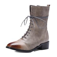 Femmes Similicuir Talon bas Bout fermé Bottes Bottes mi-mollets avec Zip Dentelle chaussures