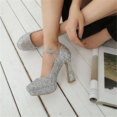 Women's Sparkling Glitter Chunky Heel Pumps With Sequin Buckle shoes